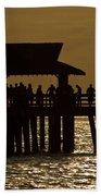 Fishing At Naples Pier Beach Towel