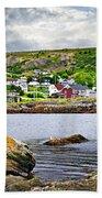 Fishing Village In Newfoundland Beach Towel by Elena Elisseeva