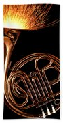 French Horn With Sparks Beach Towel