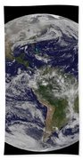 Full Earth Showing North America Beach Towel