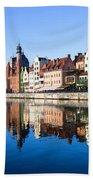 Gdansk Old Town And Motlawa River Beach Sheet