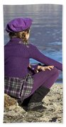 Girl At A Lake Beach Towel by Joana Kruse