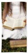 Girl Is Reading A Book Beach Sheet