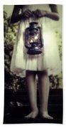 Girl With Oil Lamp Beach Towel by Joana Kruse