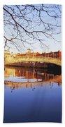 Hapenny Bridge, River Liffey, Dublin Beach Towel
