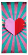 Heart And Cupid On Paper Texture Beach Towel