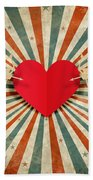 Heart And Cupid With Ray Background Beach Towel by Setsiri Silapasuwanchai