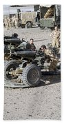 Howitzer 105mm Light Guns Are Lined Beach Towel