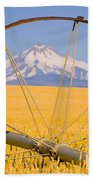 Irrigation Pipe In Wheat Field With Beach Towel