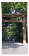 Japanese Entrance Gate On A Sunny Day Beach Towel