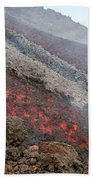 Lava Flow During Eruption Of Mount Etna Beach Towel
