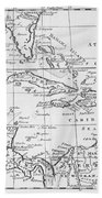 Map Of The West Indies Florida And South America Beach Towel