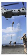 Marines Fast Rope From A Ch-46e Sea Beach Towel