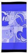 Mickey In Negative Light Blue Beach Towel