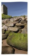 Minard Castle And Rocky Beach Minard Beach Towel