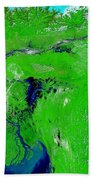 Monsoon Floods Beach Towel by NASA / Science Source