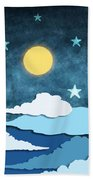 Moon And Stars Beach Towel