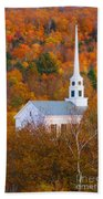 New England Church In Autumn Beach Towel