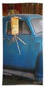 Old Blue Farm Truck Beach Towel