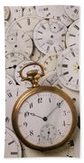 Old Pocket Watch On Dail Faces Beach Towel