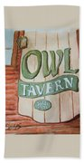 Owl Tavern Beach Towel