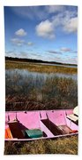 Pink Boat In Scenic Saskatchewan Beach Towel