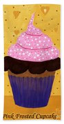 Pink Frosted Cupcake Beach Towel