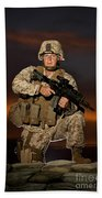 Portrait Of A U.s. Marine In Uniform Beach Towel
