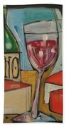 Red Wine And Cheese Poster Beach Towel