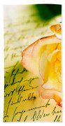Red Yellow Rose Over A Hand Written Letter Beach Towel