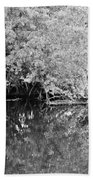 Reflections On The North Fork River In Black And White Beach Towel