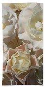 Romantic White Roses Beach Towel