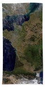 Satellite View Of France Beach Towel