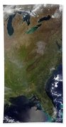 Satellite View Of The United States Beach Towel
