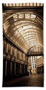 Sepia Toned Image Of Leadenhall Market London Beach Towel