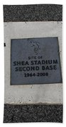 Shea Stadium Second Base Beach Towel by Rob Hans
