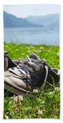 Shoes On The Green Grass Beach Towel