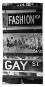 Signs Of New York In Black And White Beach Towel by Rob Hans