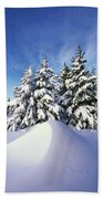 Snow-covered Pine Trees Beach Towel
