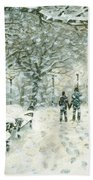 Snowing In The Park Beach Towel