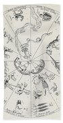 Star Map From Kirchers Oedipus Beach Towel
