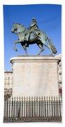 Statue Of King Charles IIi In Madrid Beach Towel