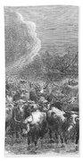 Texas: Cattle Drive, 1867 Beach Towel