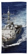 The Guided Missile Destroyer Uss Nitze Beach Towel