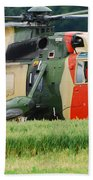 The Sea King Helicopter Of The Belgian Beach Towel by Luc De Jaeger