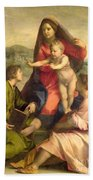 The Virgin And Child With A Saint And An Angel Beach Towel by Andrea del Sarto