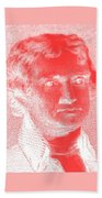 Thomas Jefferson In Negative Red Beach Towel by Rob Hans