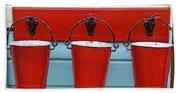 Three Red Buckets Beach Towel