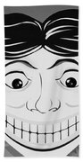 Tillie The Clown Of Coney Island In Black And White Beach Towel