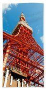 Tokyo Tower Face Cloudy Sky Beach Towel by Ulrich Schade